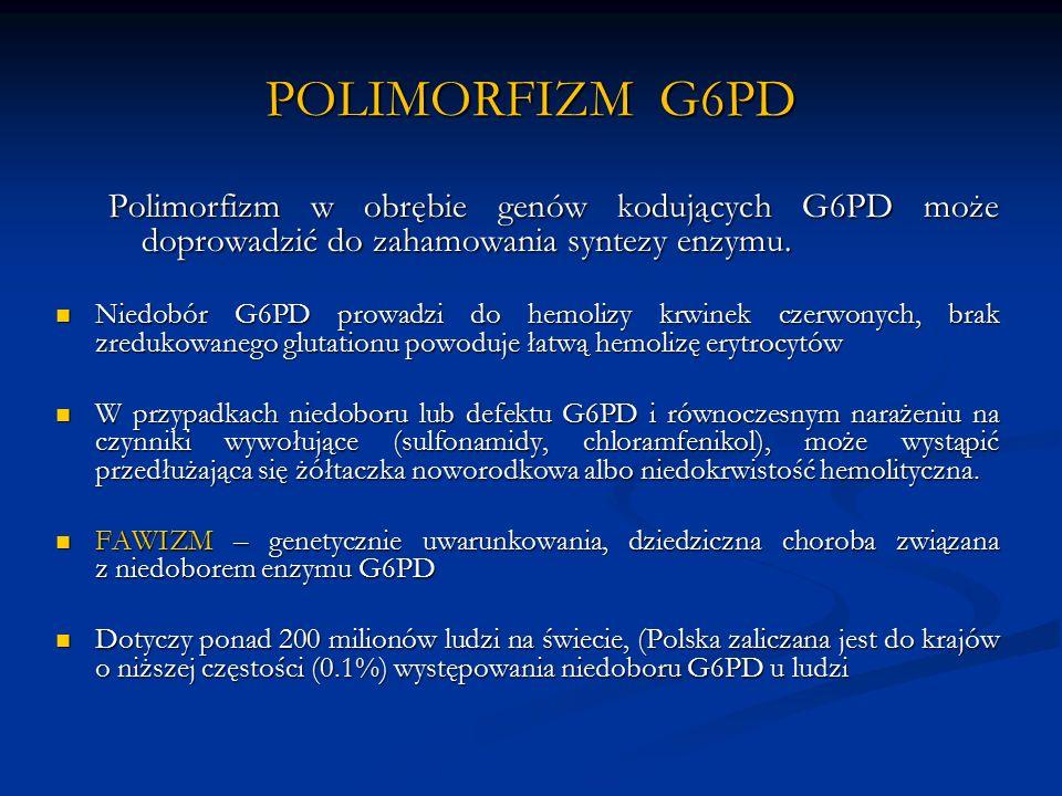 POLIMORFIZM G6PD Polimorfizm w obrębie genów kodujących G6PD może doprowadzić do zahamowania syntezy enzymu.
