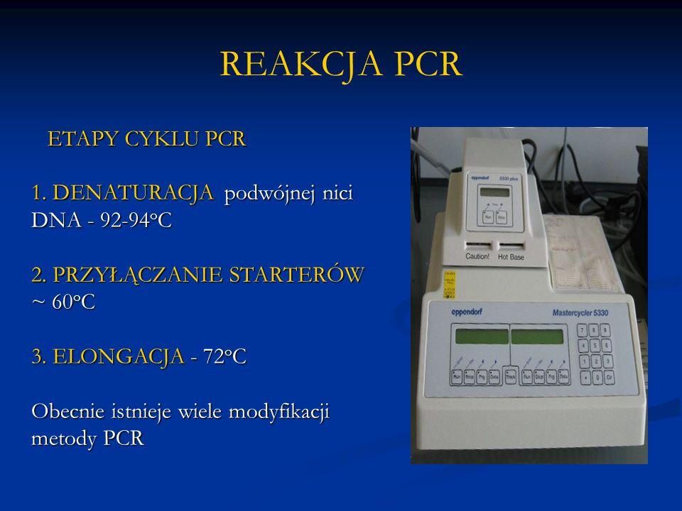 REAKCJA PCR 1. DENATURACJA podwójnej nici DNA - 92-94 o C 2.
