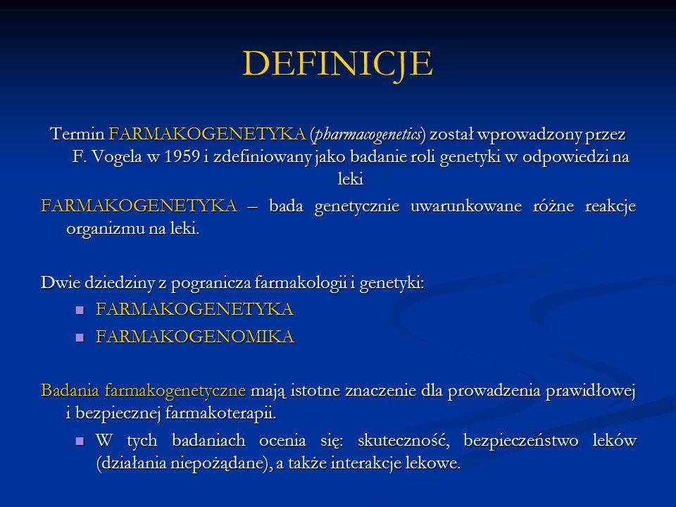 FARMAKOGENETYKA I FARMAKOGENOMIKA FARMAKOGENETYKA FARMAKOGENOMIKA cel badanie genetycznego zróżnicowaniabadanie genetycznego zróżnicowania wrażliwości na leki wpływ genotypu i fenotypu człowieka wpływ genotypu i fenotypu człowieka na działanie i losy leków w organizmie