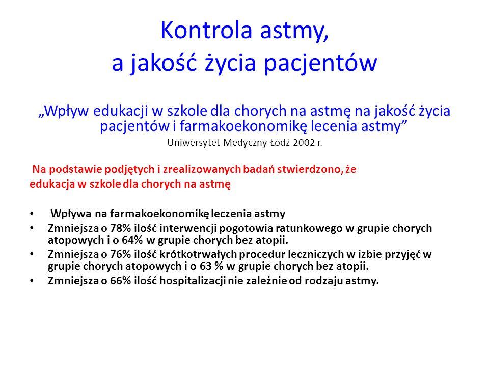 """Kontrola astmy, a jakość życia pacjentów """"Wpływ edukacji w szkole dla chorych na astmę na jakość życia pacjentów i farmakoekonomikę lecenia astmy Uniwersytet Medyczny Łódź 2002 r."""