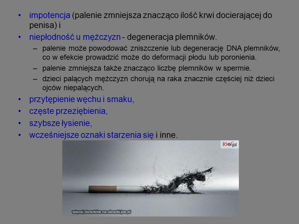 impotencja (palenie zmniejsza znacząco ilość krwi docierającej do penisa) i niepłodność u mężczyzn - degeneracja plemników.