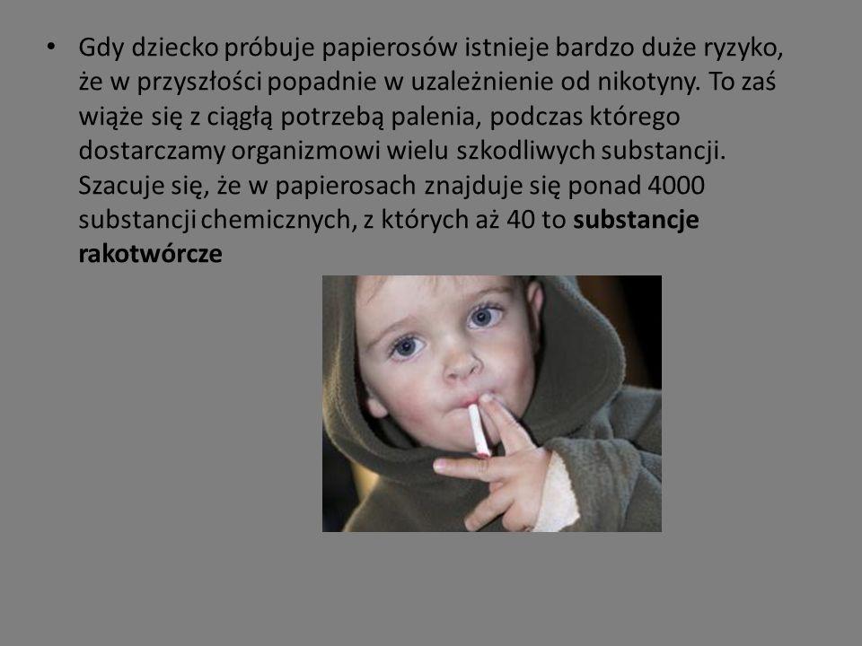 Gdy dziecko próbuje papierosów istnieje bardzo duże ryzyko, że w przyszłości popadnie w uzależnienie od nikotyny.