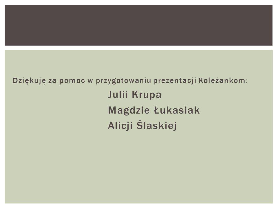 Dziękuję za pomoc w przygotowaniu prezentacji Koleżankom: Julii Krupa Magdzie Łukasiak Alicji Ślaskiej