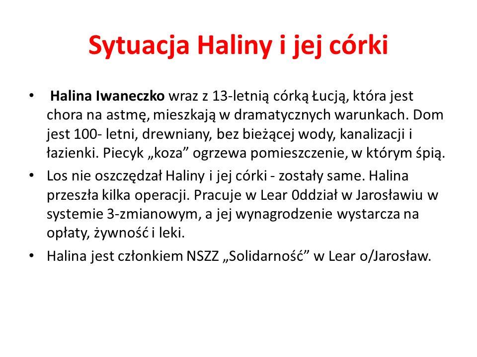 Sytuacja Haliny i jej córki Halina Iwaneczko wraz z 13-letnią córką Łucją, która jest chora na astmę, mieszkają w dramatycznych warunkach.