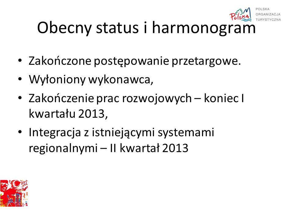 Obecny status i harmonogram Zakończone postępowanie przetargowe. Wyłoniony wykonawca, Zakończenie prac rozwojowych – koniec I kwartału 2013, Integracj