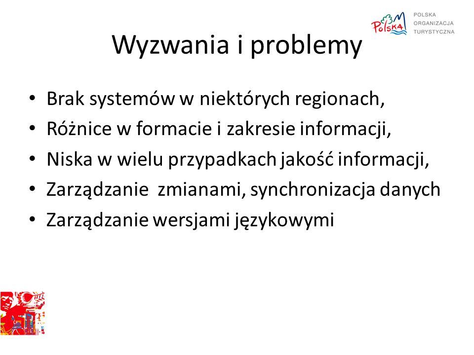 Wyzwania i problemy Brak systemów w niektórych regionach, Różnice w formacie i zakresie informacji, Niska w wielu przypadkach jakość informacji, Zarzą