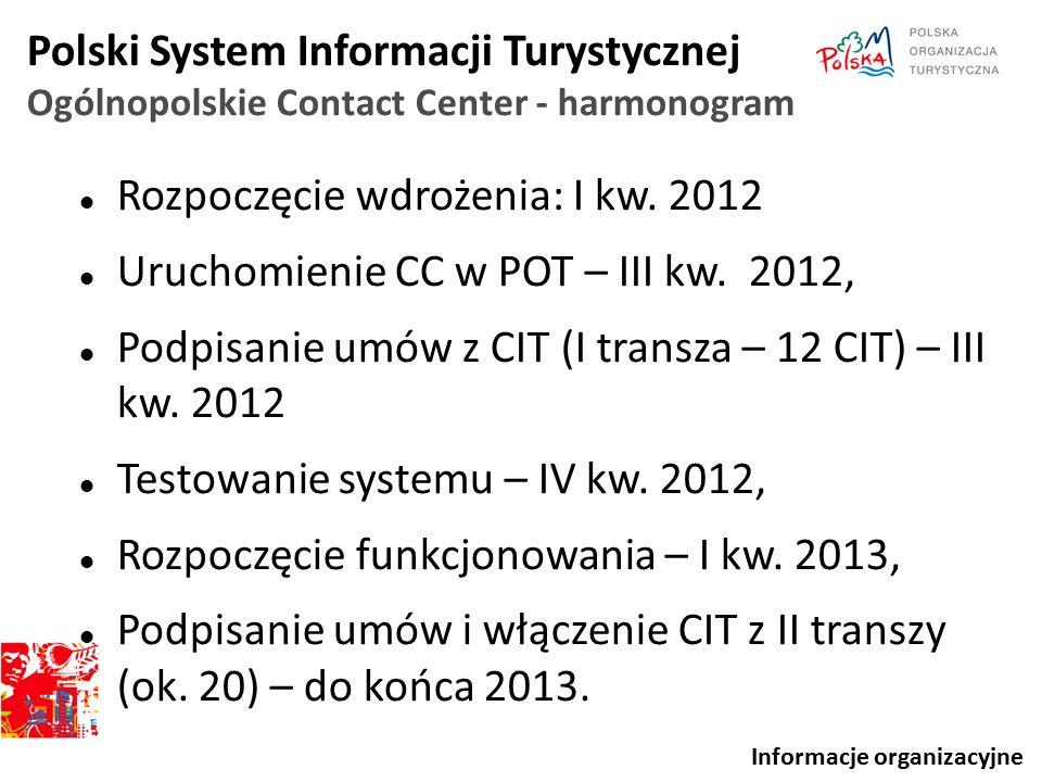 Polski System Informacji Turystycznej Ogólnopolskie Contact Center - harmonogram Rozpoczęcie wdrożenia: I kw. 2012 Uruchomienie CC w POT – III kw. 201