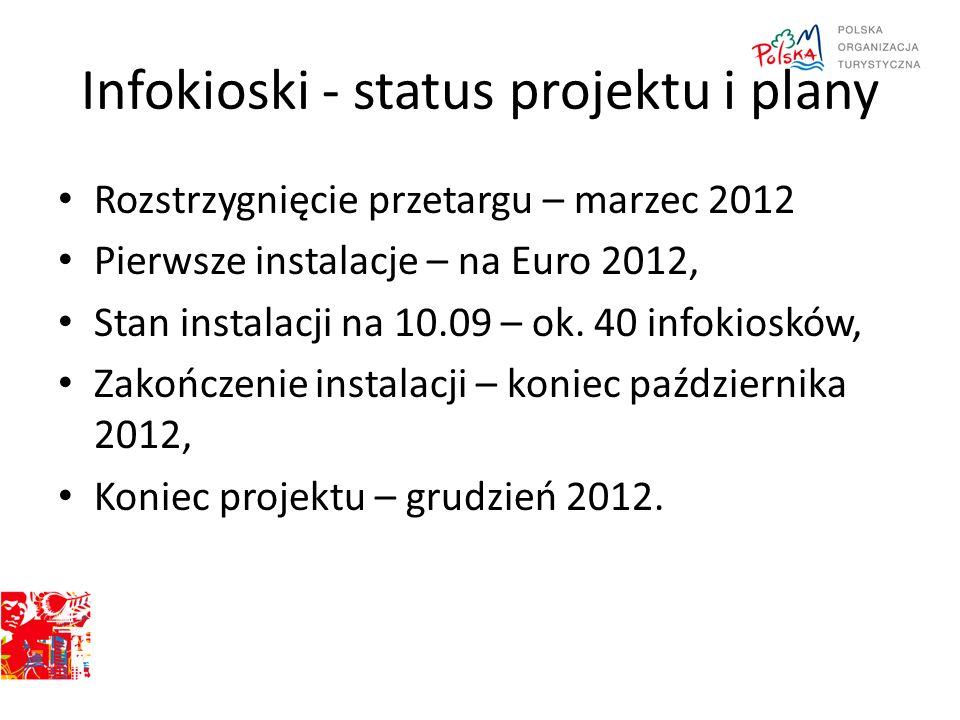 Infokioski - status projektu i plany Rozstrzygnięcie przetargu – marzec 2012 Pierwsze instalacje – na Euro 2012, Stan instalacji na 10.09 – ok. 40 inf