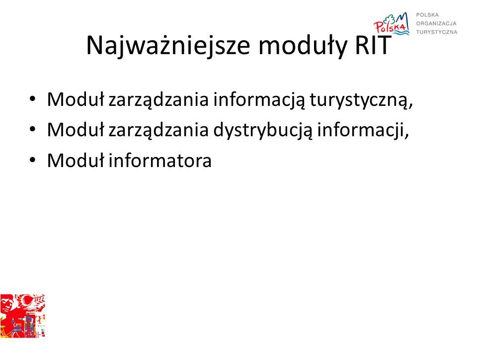 Najważniejsze moduły RIT Moduł zarządzania informacją turystyczną, Moduł zarządzania dystrybucją informacji, Moduł informatora