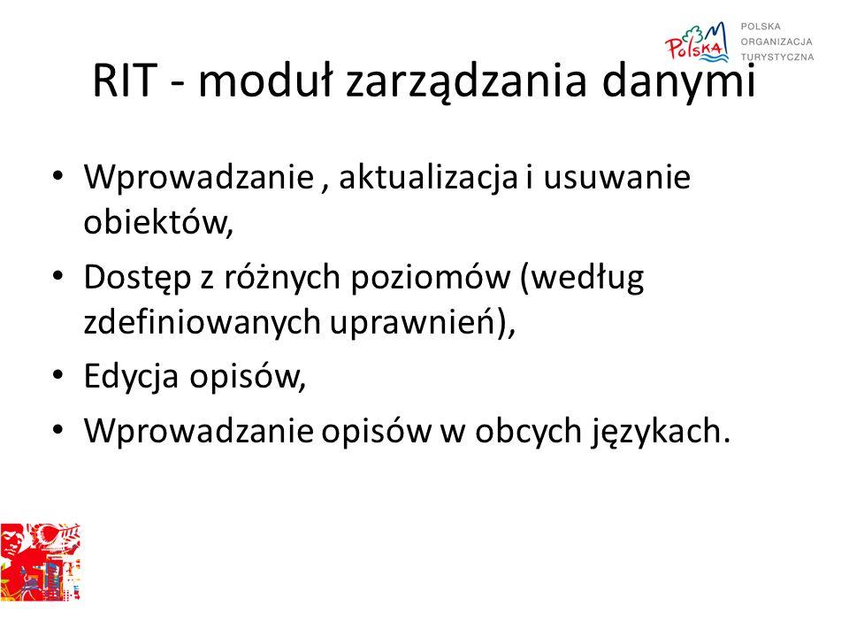 RIT - moduł zarządzania danymi Wprowadzanie, aktualizacja i usuwanie obiektów, Dostęp z różnych poziomów (według zdefiniowanych uprawnień), Edycja opi