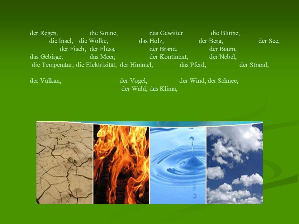 der Regen, die Sonne, das Gewitter die Blume, die Insel, die Wolke, das Holz, der Berg, der See, der Fisch, der Fluss, der Brand, der Baum, das Gebirg