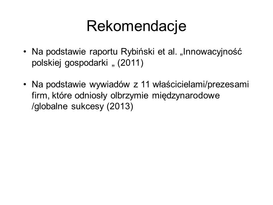 Rekomendacje Na podstawie raportu Rybiński et al.