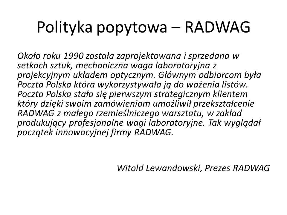 Polityka popytowa – RADWAG Około roku 1990 została zaprojektowana i sprzedana w setkach sztuk, mechaniczna waga laboratoryjna z projekcyjnym układem optycznym.