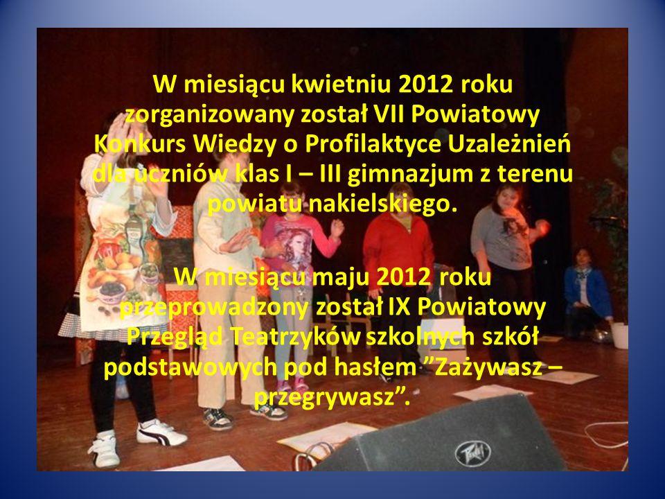 W miesiącu kwietniu 2012 roku zorganizowany został VII Powiatowy Konkurs Wiedzy o Profilaktyce Uzależnień dla uczniów klas I – III gimnazjum z terenu