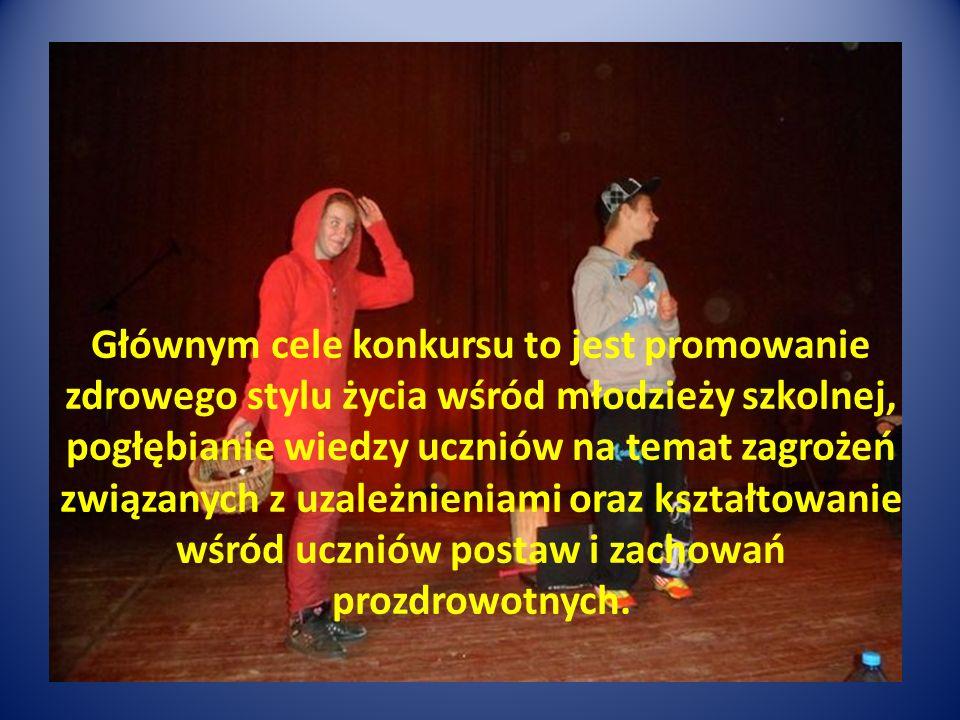 Głównym cele konkursu to jest promowanie zdrowego stylu życia wśród młodzieży szkolnej, pogłębianie wiedzy uczniów na temat zagrożeń związanych z uzależnieniami oraz kształtowanie wśród uczniów postaw i zachowań prozdrowotnych.