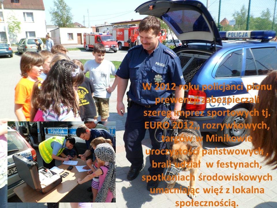 W 2012 roku policjanci pionu prewencji zabezpieczali szereg imprez sportowych tj. EURO 2012,, rozrywkowych, targów w Minikowie uroczystości państwowyc