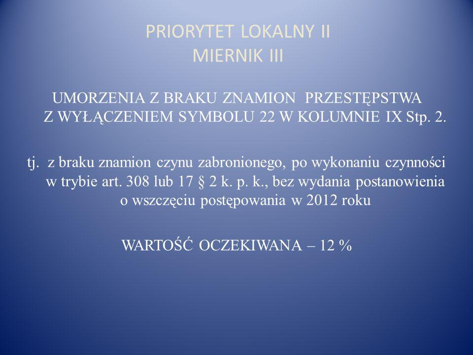 PRIORYTET LOKALNY II MIERNIK III UMORZENIA Z BRAKU ZNAMION PRZESTĘPSTWA Z WYŁĄCZENIEM SYMBOLU 22 W KOLUMNIE IX Stp.