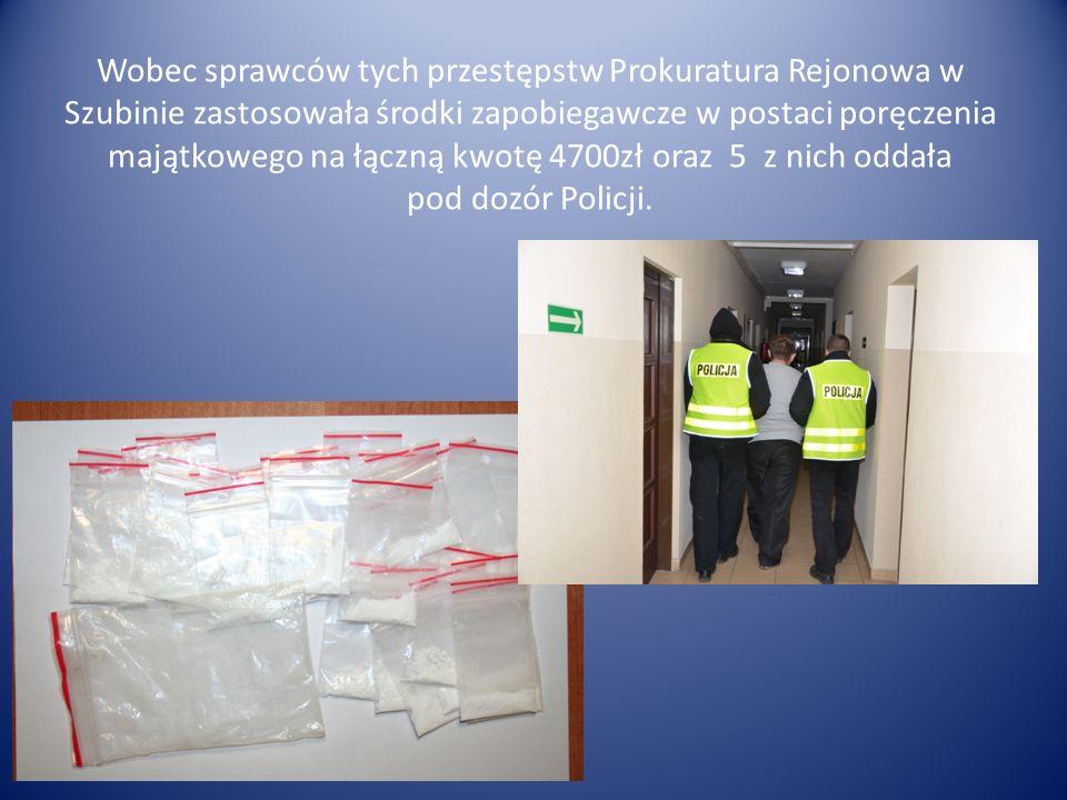Wobec sprawców tych przestępstw Prokuratura Rejonowa w Szubinie zastosowała środki zapobiegawcze w postaci poręczenia majątkowego na łączną kwotę 4700
