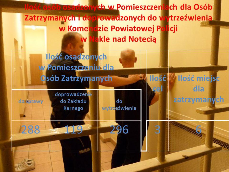 Ilość osób osadzonych w Pomieszczeniach dla Osób Zatrzymanych i doprowadzonych do wytrzeźwienia w Komendzie Powiatowej Policji w Nakle nad Notecią Ilo