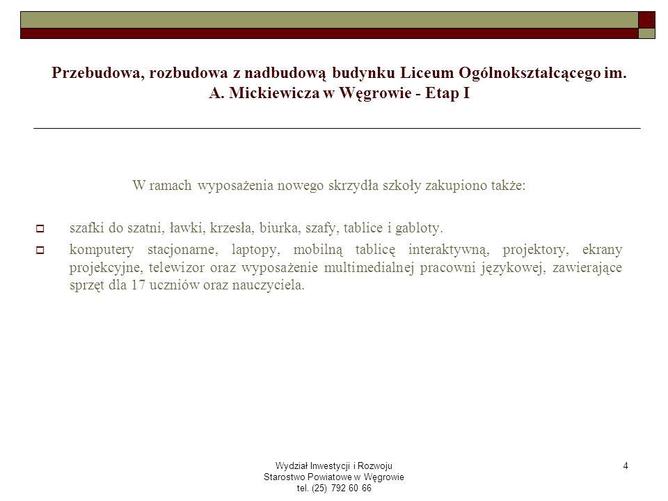 Wydział Inwestycji i Rozwoju Starostwo Powiatowe w Węgrowie tel.