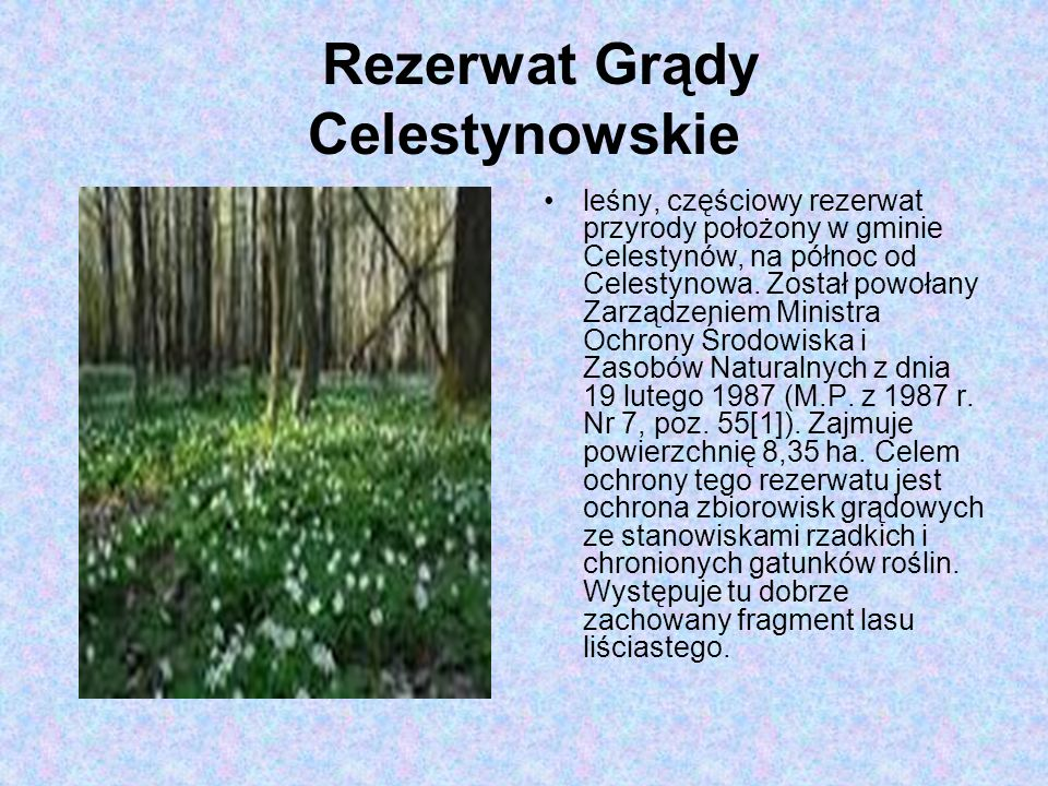 Rezerwat Grądy Celestynowskie leśny, częściowy rezerwat przyrody położony w gminie Celestynów, na północ od Celestynowa.