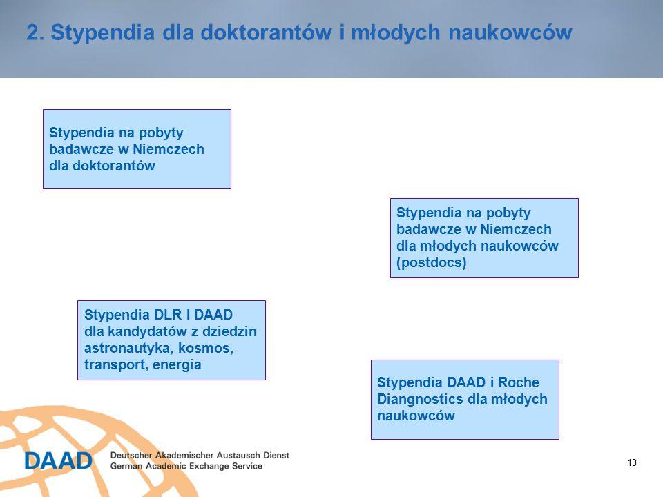 13 2. Stypendia dla doktorantów i młodych naukowców Stypendia na pobyty badawcze w Niemczech dla doktorantów Stypendia na pobyty badawcze w Niemczech