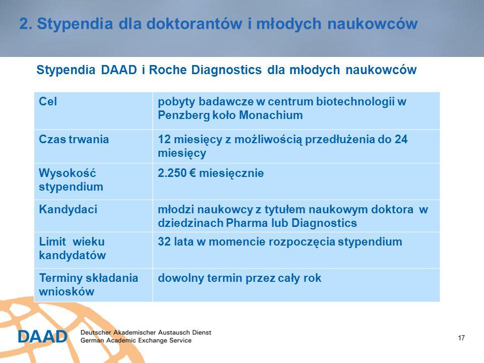 17 2. Stypendia dla doktorantów i młodych naukowców Stypendia DAAD i Roche Diagnostics dla młodych naukowców Celpobyty badawcze w centrum biotechnolog