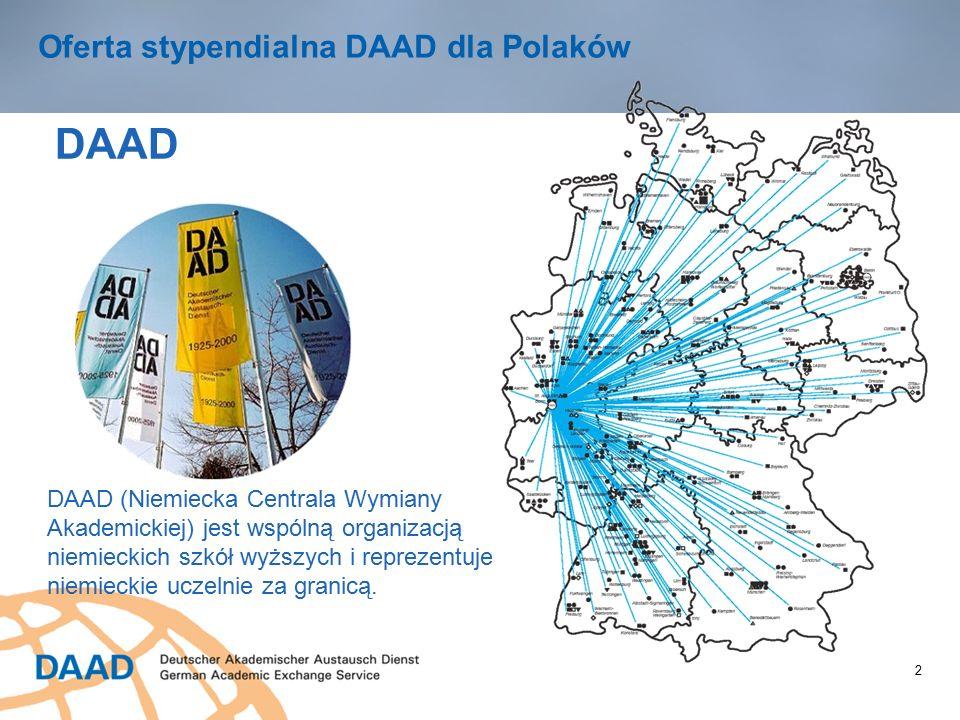 2 Oferta stypendialna DAAD dla Polaków DAAD DAAD (Niemiecka Centrala Wymiany Akademickiej) jest wspólną organizacją niemieckich szkół wyższych i reprezentuje niemieckie uczelnie za granicą.