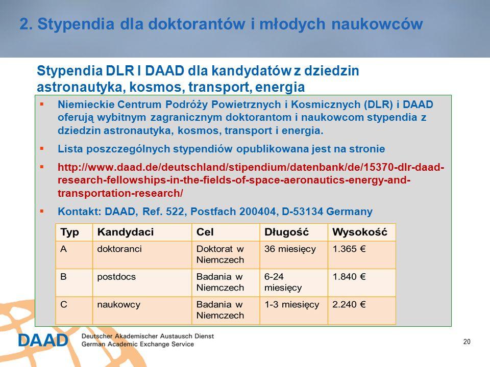 20 2. Stypendia dla doktorantów i młodych naukowców Stypendia DLR I DAAD dla kandydatów z dziedzin astronautyka, kosmos, transport, energia  Niemieck