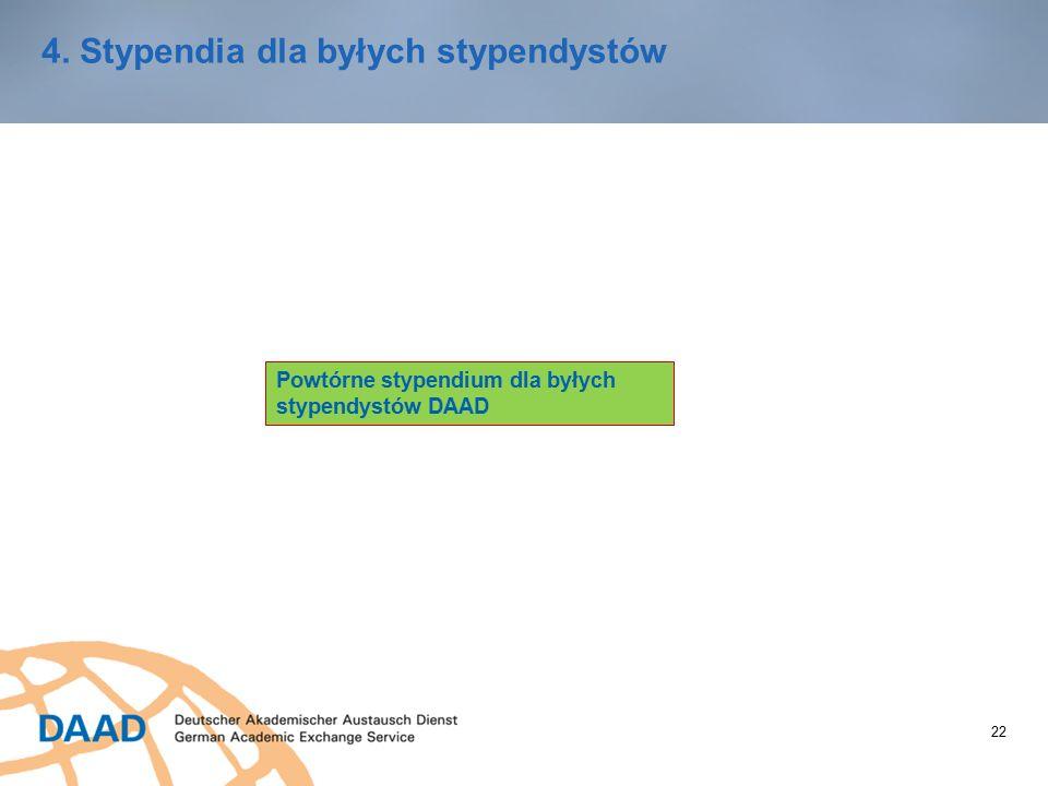 22 4. Stypendia dla byłych stypendystów Powtórne stypendium dla byłych stypendystów DAAD
