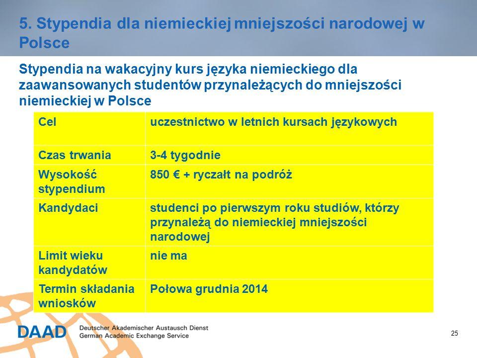 25 5. Stypendia dla niemieckiej mniejszości narodowej w Polsce Stypendia na wakacyjny kurs języka niemieckiego dla zaawansowanych studentów przynależą