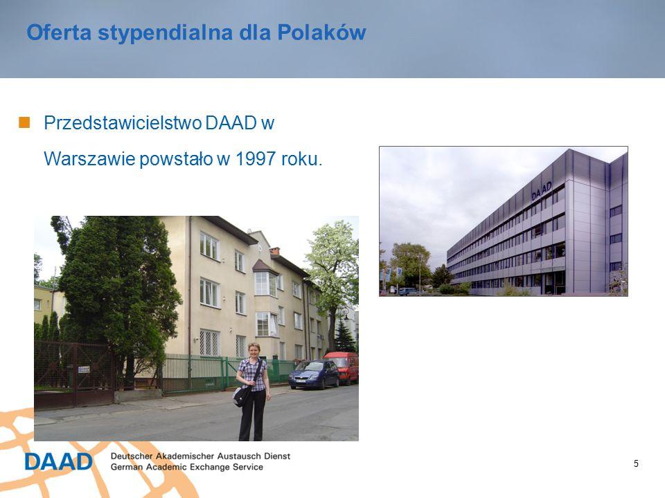 5 Oferta stypendialna dla Polaków Przedstawicielstwo DAAD w Warszawie powstało w 1997 roku.
