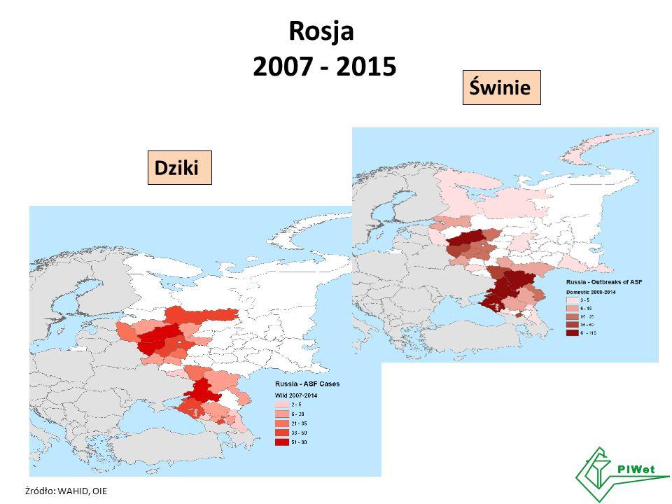 Rosja 2007 - 2015 Świnie Żródło: WAHID, OIE Dziki