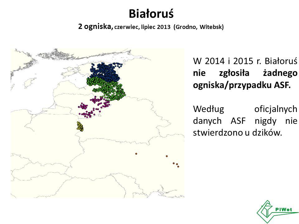 Białoruś 2 ogniska, czerwiec, lipiec 2013 (Grodno, Witebsk) W 2014 i 2015 r. Białoruś nie zgłosiła żadnego ogniska/przypadku ASF. Według oficjalnych d