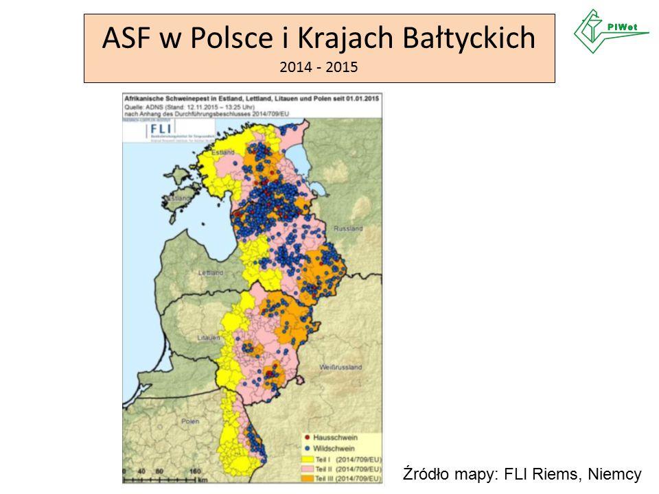 ASF w Polsce i Krajach Bałtyckich 2014 - 2015 Źródło mapy: FLI Riems, Niemcy