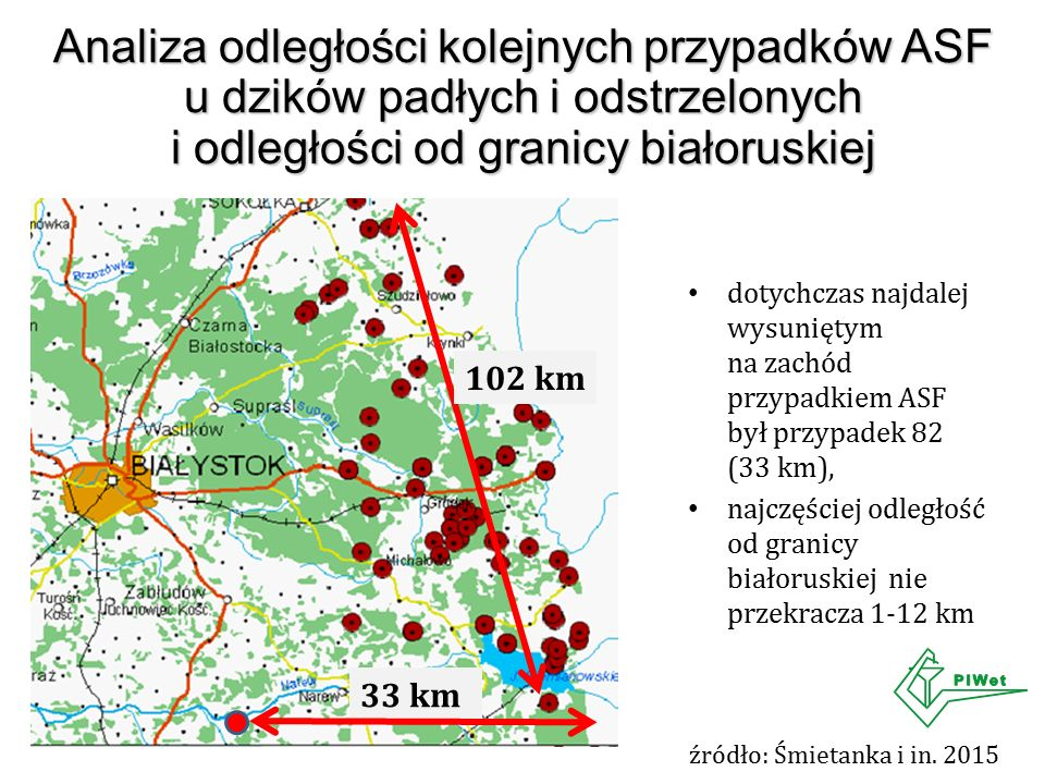 Analiza odległości kolejnych przypadków ASF u dzików padłych i odstrzelonych i odległości od granicy białoruskiej źródło: Śmietanka i in. 2015 dotychc