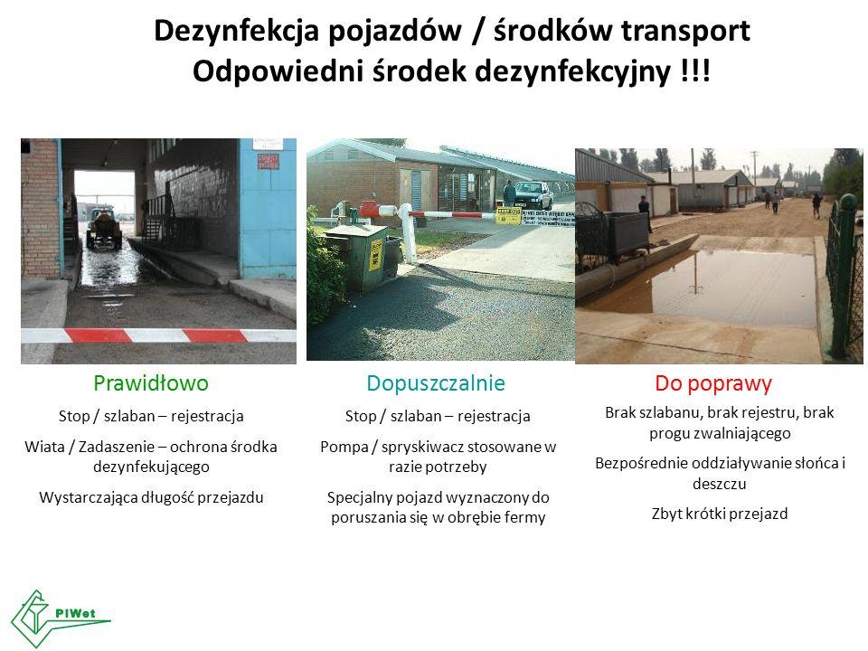 Dezynfekcja pojazdów / środków transport Odpowiedni środek dezynfekcyjny !!! PrawidłowoDopuszczalnieDo poprawy Stop / szlaban – rejestracja Wiata / Za