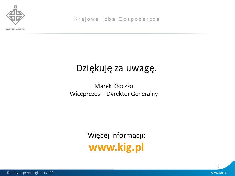 Krajowa Izba Gospodarcza Dziękuję za uwagę. Więcej informacji: www.kig.pl 31 Marek Kłoczko Wiceprezes – Dyrektor Generalny
