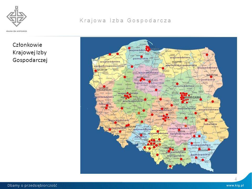 Krajowa Izba Gospodarcza Izby regionalne i lokalne - 56 Izby branżowe - 64 Izby dwu- i wielostronne- 20 Inne organizacje- 13 Razem: 153 Członków 5