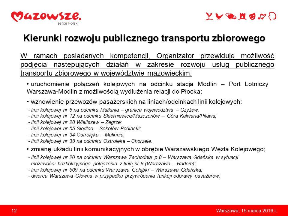 12Warszawa, 15 marca 2016 r. uruchomienie połączeń kolejowych na odcinku stacja Modlin – Port Lotniczy Warszawa-Modlin z możliwością wydłużenia relacj