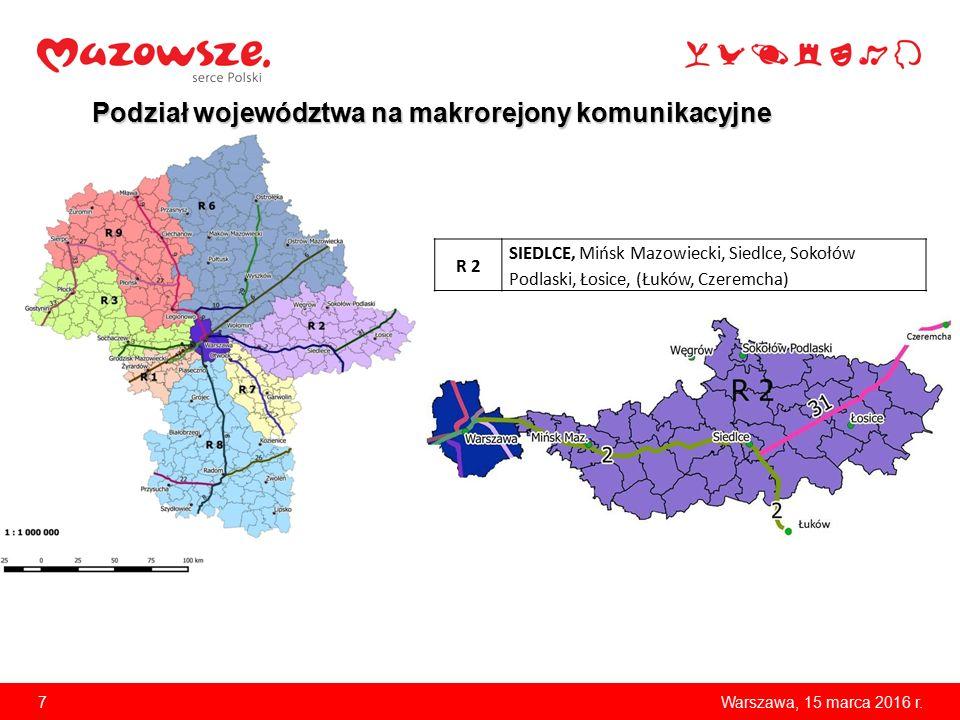 7 Podział województwa na makrorejony komunikacyjne R 2 SIEDLCE, Mińsk Mazowiecki, Siedlce, Sokołów Podlaski, Łosice, (Łuków, Czeremcha) Warszawa, 15 m