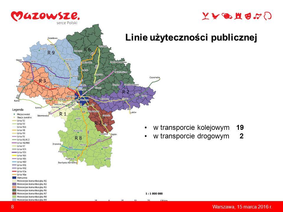 8 Linie użyteczności publicznej w transporcie kolejowym 19 w transporcie drogowym 2
