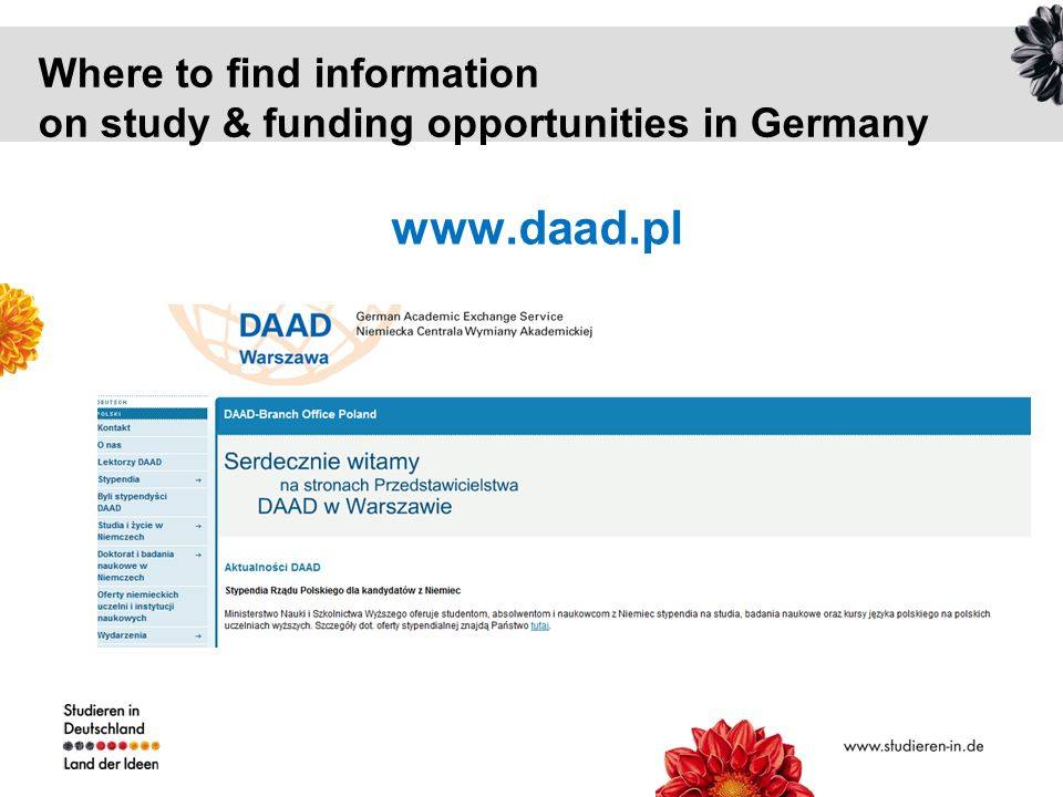 Where to find information on study & funding opportunities in Germany www.daad.pl