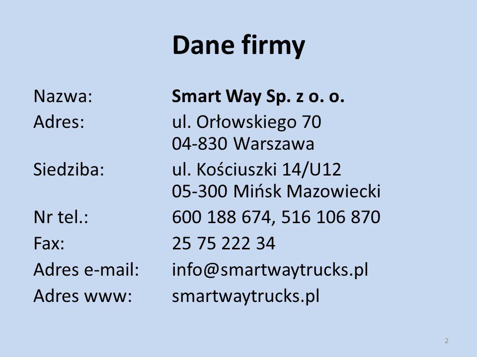 Dane firmy Nazwa: Smart Way Sp. z o. o. Adres:ul. Orłowskiego 70 04-830 Warszawa Siedziba: ul. Kościuszki 14/U12 05-300 Mińsk Mazowiecki Nr tel.: 600