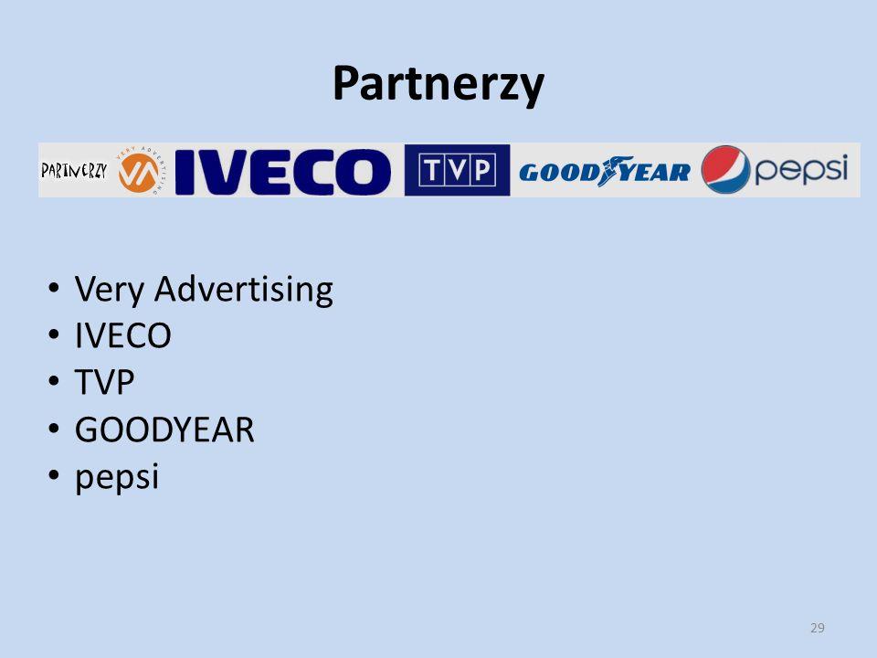 Partnerzy 29 Very Advertising IVECO TVP GOODYEAR pepsi