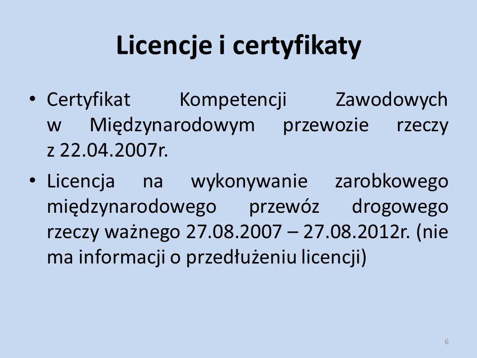 Licencje i certyfikaty Certyfikat Kompetencji Zawodowych w Międzynarodowym przewozie rzeczy z 22.04.2007r. Licencja na wykonywanie zarobkowego międzyn