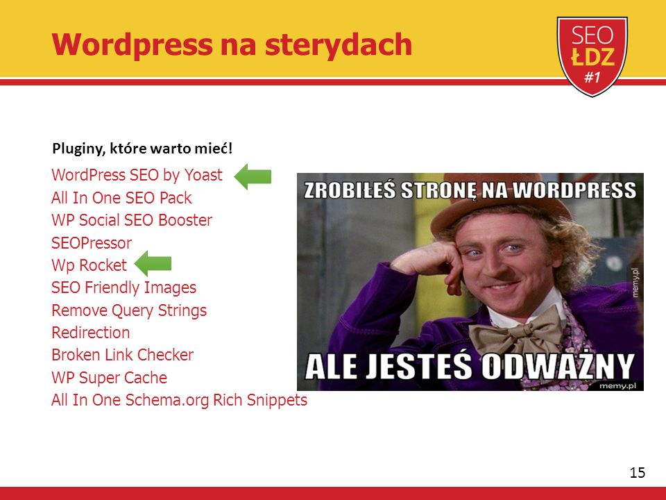 15 Wordpress na sterydach WordPress SEO by Yoast All In One SEO Pack WP Social SEO Booster SEOPressor Wp Rocket SEO Friendly Images Remove Query Strings Redirection Broken Link Checker WP Super Cache All In One Schema.org Rich Snippets Pluginy, które warto mieć!