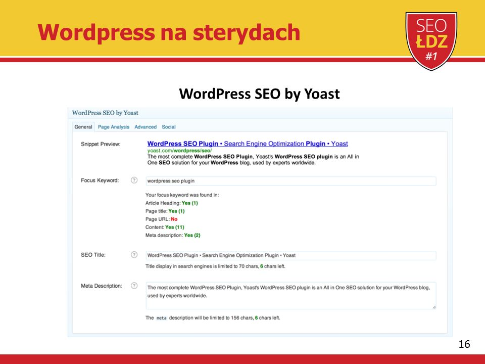 16 Wordpress na sterydach WordPress SEO by Yoast