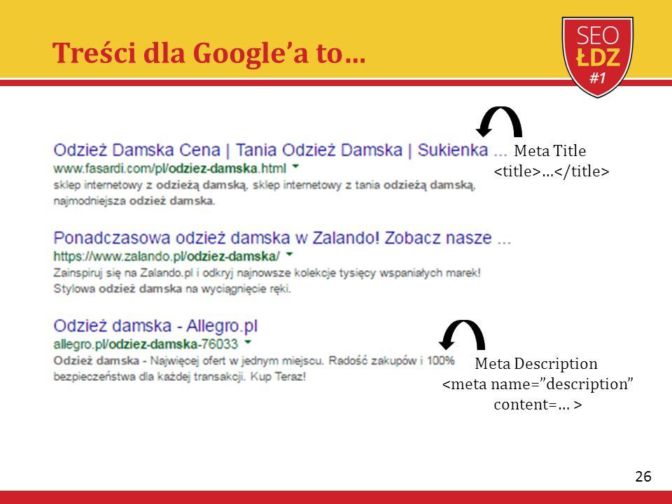26 Treści dla Google'a to… Meta Title … Meta Description <meta name= description content=… >