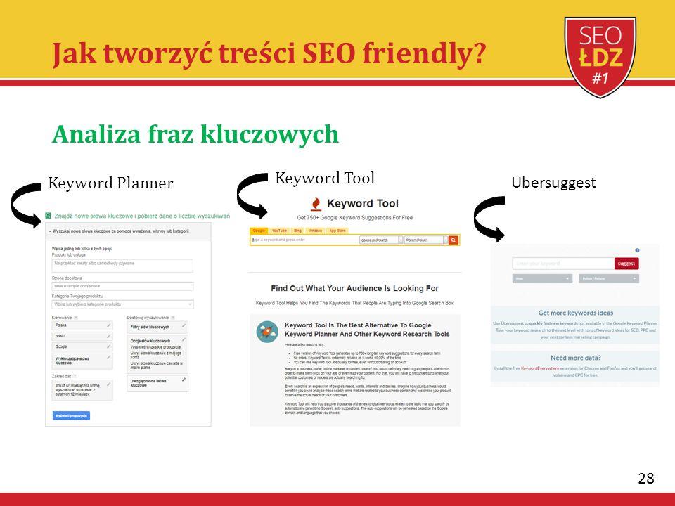 28 Jak tworzyć treści SEO friendly? Analiza fraz kluczowych Keyword Planner Keyword Tool Ubersuggest